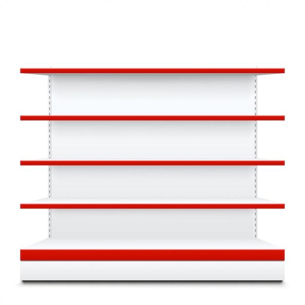 Estantes con frente rojo Vector Premium