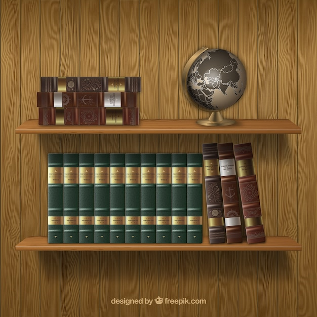 Estantes con libros antiguos vector gratuito