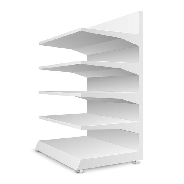 Estantes de las tiendas vacías blancas aisladas Vector Premium