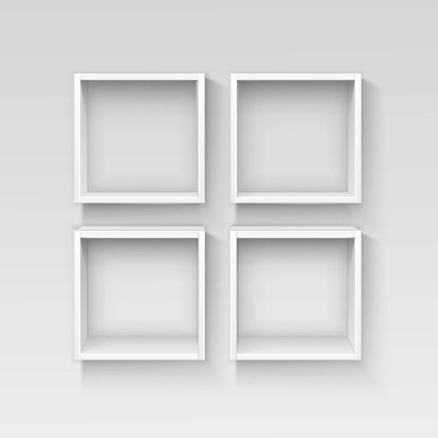 Estantes vacíos blancos estantes aislados sobre fondo de pared Vector Premium