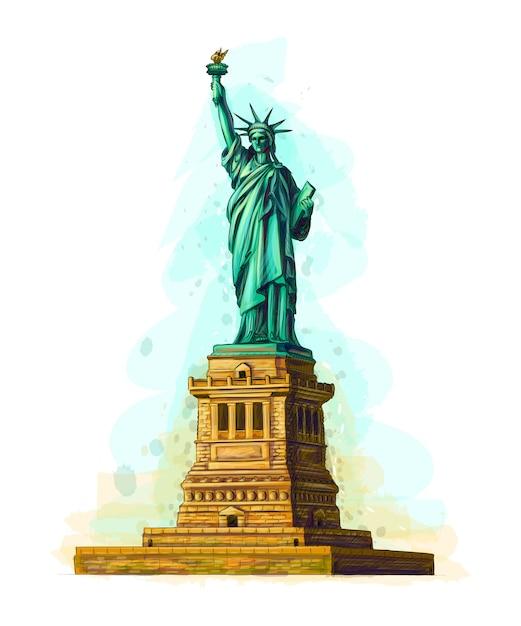 Estatua de la libertad dibujada a mano sobre un fondo blanco. ilustración Vector Premium