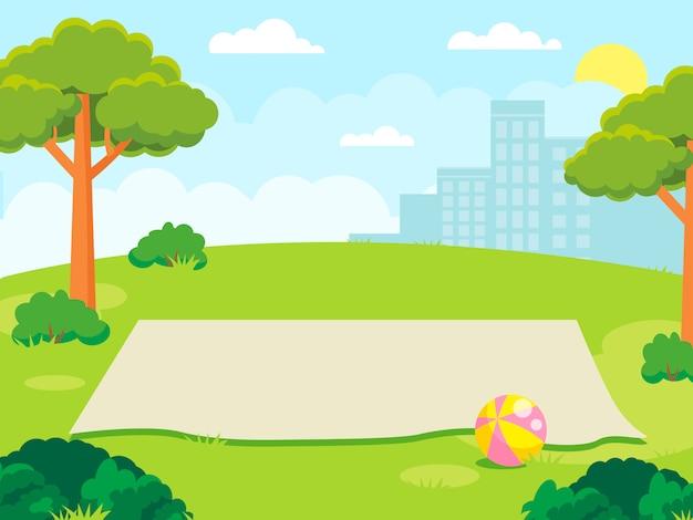 Estera vacía para un picnic familiar en el parque Vector Premium