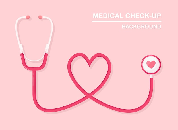 Estetoscopio médico sobre fondo. salud, investigación del concepto de corazón. Vector Premium