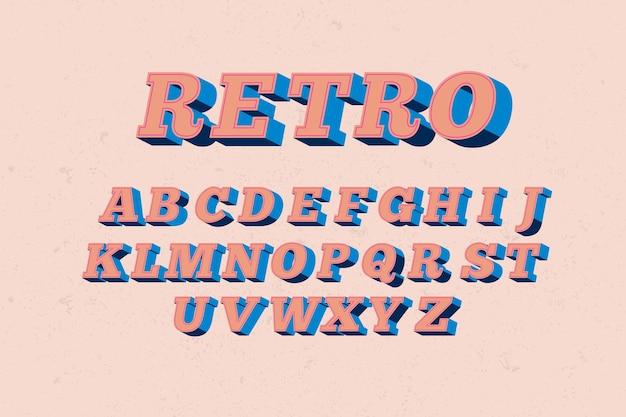 Estilo alfabético retro 3d vector gratuito