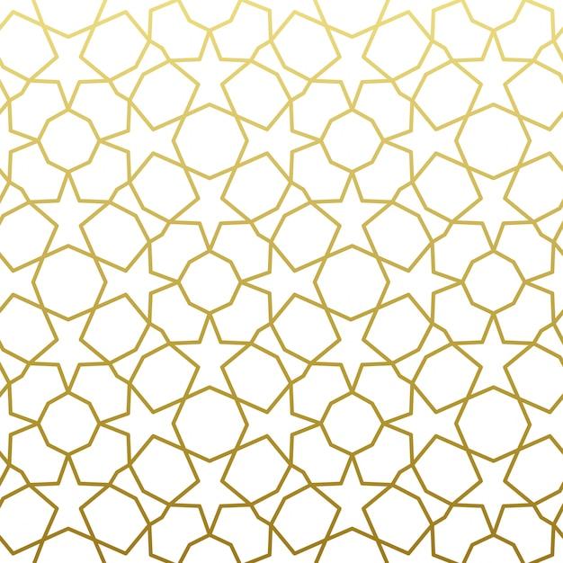 Estilo árabe patrón oro. fondo decorativo geométrico oriental árabe tradicional. Vector Premium