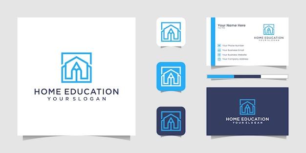 Estilo de arte de línea de logotipo de lápiz casero y tarjeta de visita Vector Premium