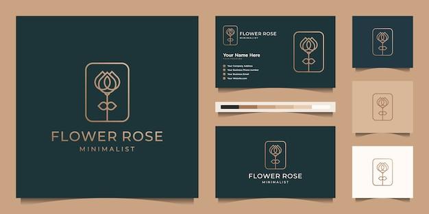 Estilo de arte minimalista elegante flor rosa línea. productos de lujo para salón de belleza, moda, cuidado de la piel, cosméticos, yoga y spa. diseño de logo y tarjeta de presentación Vector Premium