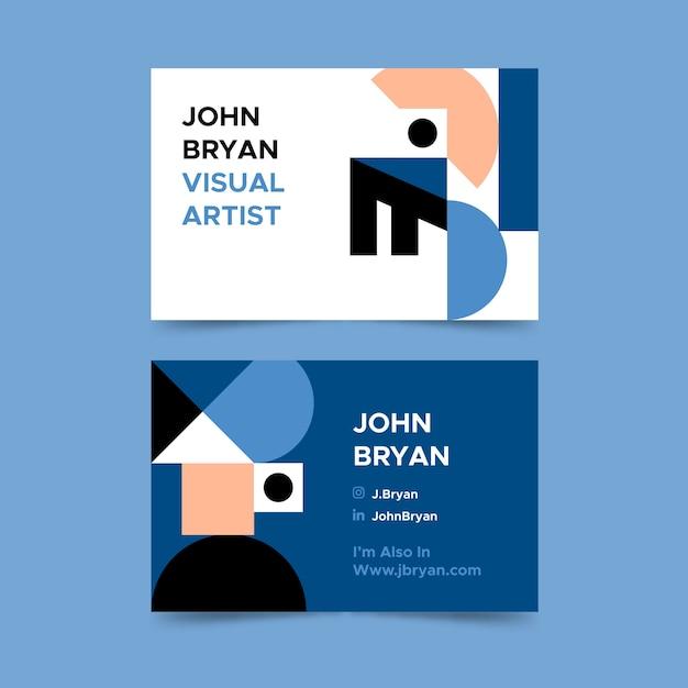 Estilo azul clásico para plantilla de tarjeta de visita vector gratuito