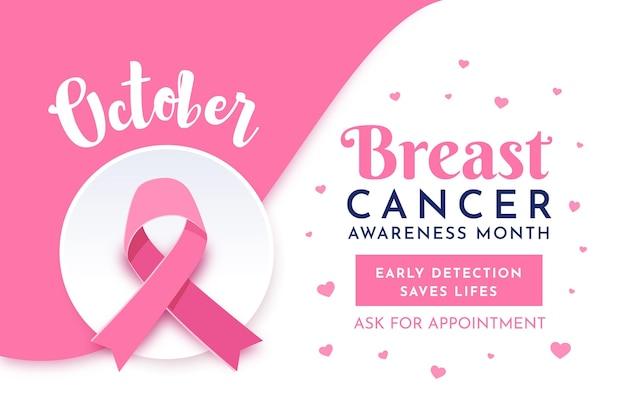Estilo de banner del mes de concientización sobre el cáncer de mama vector gratuito