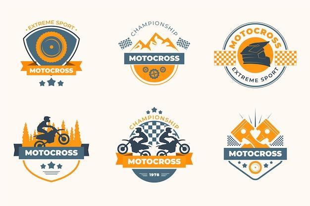 Estilo de colección de logotipos de motocross vector gratuito