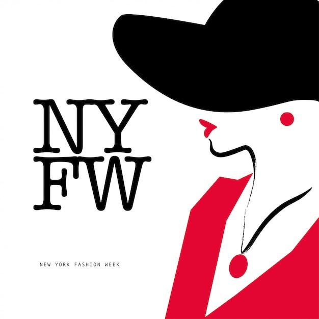 Estilo dama. retrato de dama con sombrero, ilustración. Vector Premium