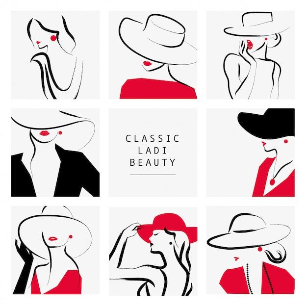 Estilo dama. señora con sombrero colección de retratos, ilustración. Vector Premium
