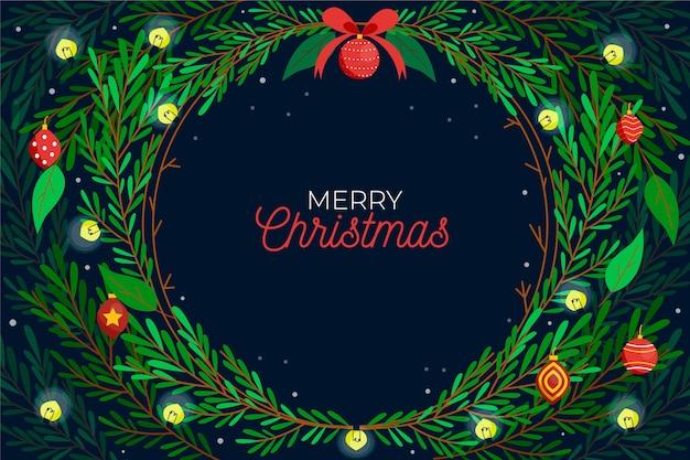 Estilo de dibujado a mano de fondo de ramas de árbol de navidad vector gratuito