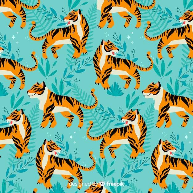 Estilo dibujado a mano de patrón de tigre vector gratuito