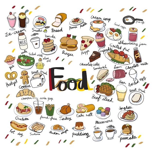 Estilo de dibujo de la ilustración de la colección de alimentos vector gratuito