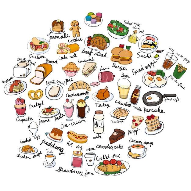 Estilo de dibujo de ilustración de la colección de alimentos vector gratuito