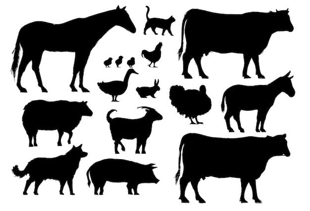 Estilo de dibujo de la ilustración de la colección de animales de granja vector gratuito