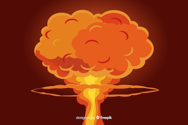 Estilo de dibujos animados de ilustración de explosión nuclear vector gratuito