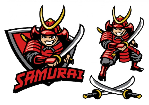 Estilo de dibujos animados de la mascota guerrera samurai Vector Premium