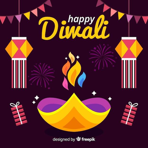 Estilo de diseño plano de fondo de diwali vector gratuito