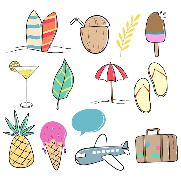 Estilo doodle de linda colección de verano sobre fondo blanco. Vector Premium