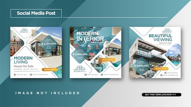Estilo elegante de bienes raíces o venta de casas diseño de publicaciones de instagram Vector Premium