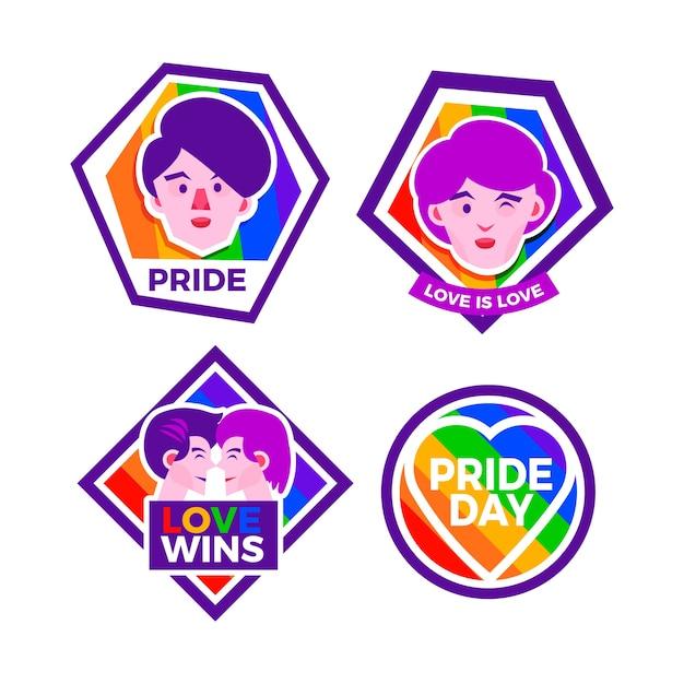 Estilo de etiquetas de celebración del día del orgullo vector gratuito