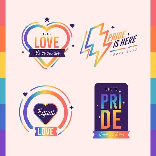 Estilo de etiquetas del día del orgullo vector gratuito