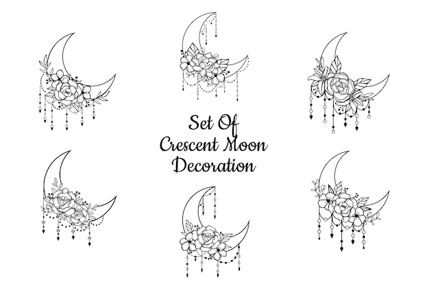 Estilo floral de luna creciente, colección de elementos de decoración de luna Vector Premium