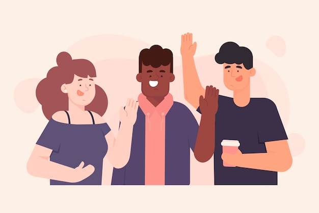 Estilo de ilustración con gente agitando la mano vector gratuito