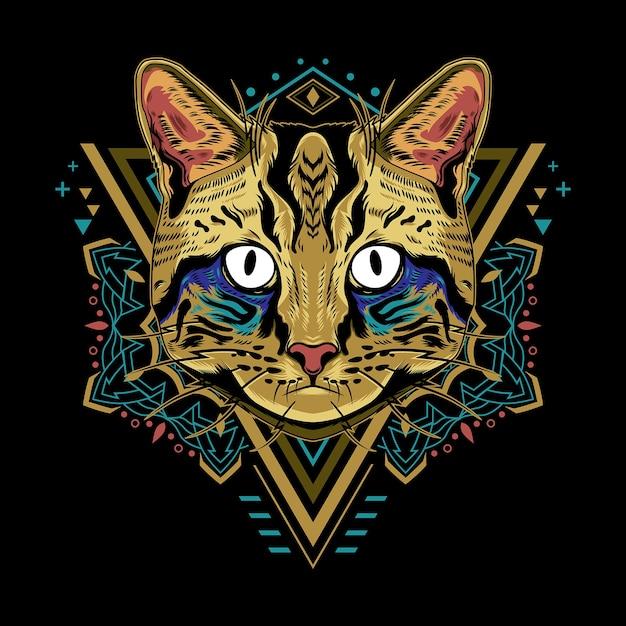Estilo de ilustración de geometría de gato fresco en fondo negro Vector Premium