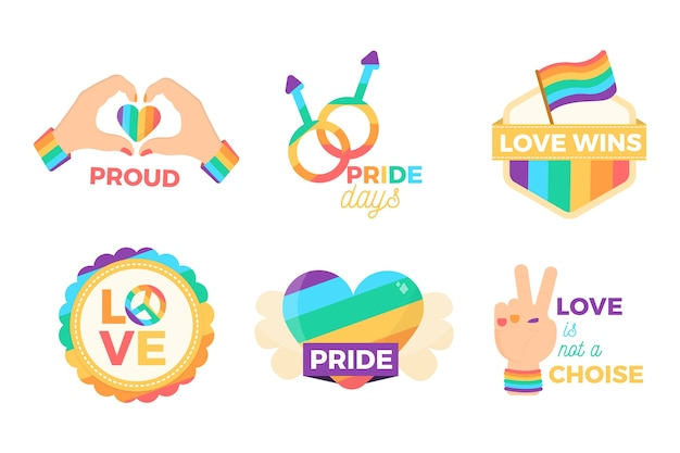 Estilo inspirador de etiquetas del día del orgullo vector gratuito