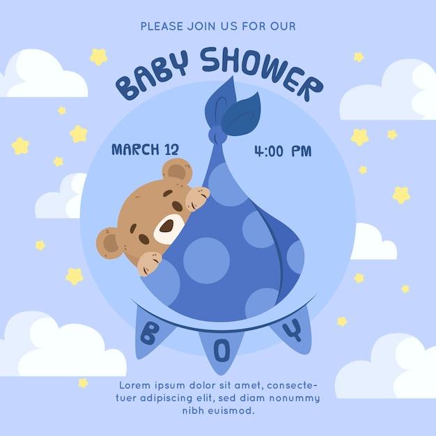 Estilo de invitación para baby shower de niño vector gratuito