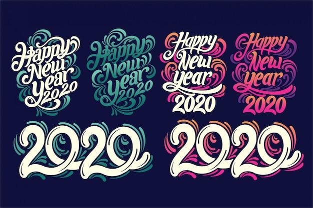 Estilo de letras a mano 2020 Vector Premium