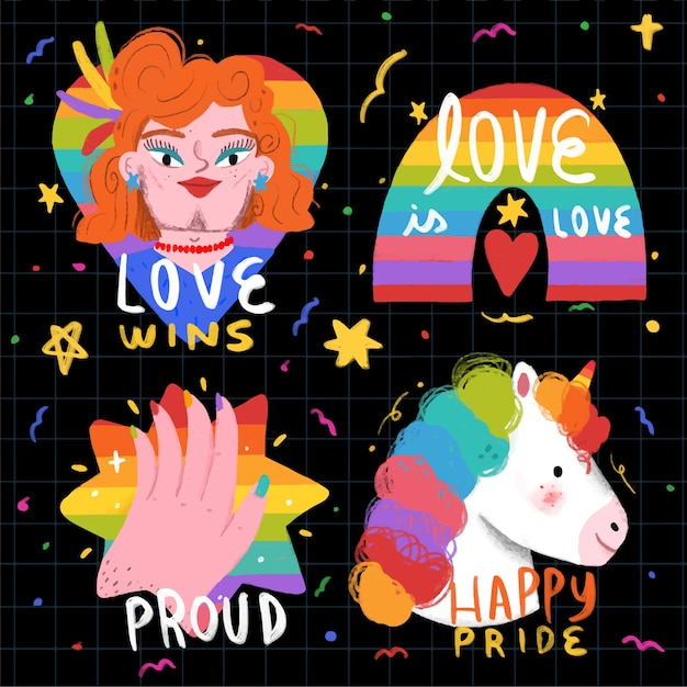 Estilo lindo de las etiquetas del día del orgullo vector gratuito