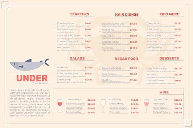 Estilo de menú de restaurante digital vector gratuito