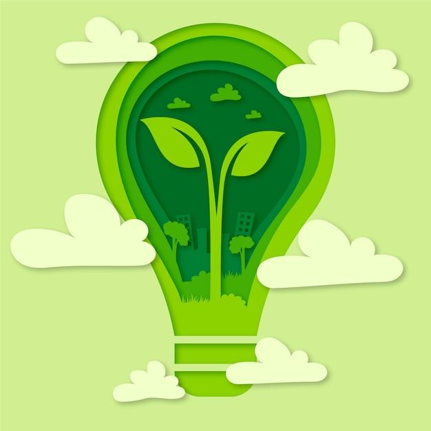 Estilo de papel para el concepto de día de medio ambiente de palabra vector gratuito
