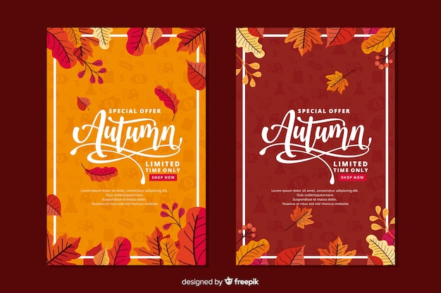 Estilo plano de banner de venta otoño vector gratuito
