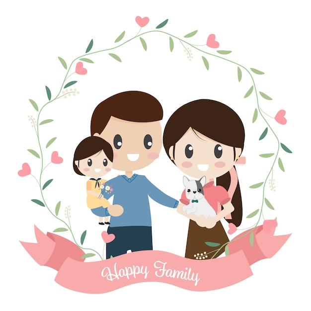 Estilo plano de dibujos animados familia feliz en corona de corazón Vector Premium
