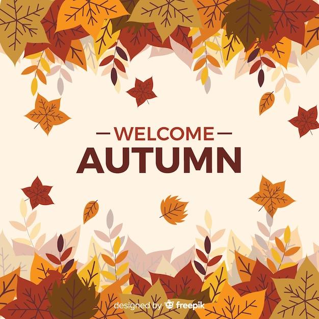 Estilo plano de fondo decorativo de otoño vector gratuito