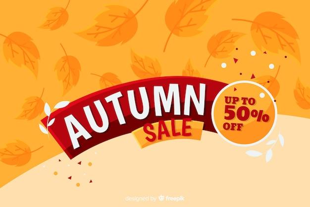 Estilo plano de fondo de ventas de otoño vector gratuito
