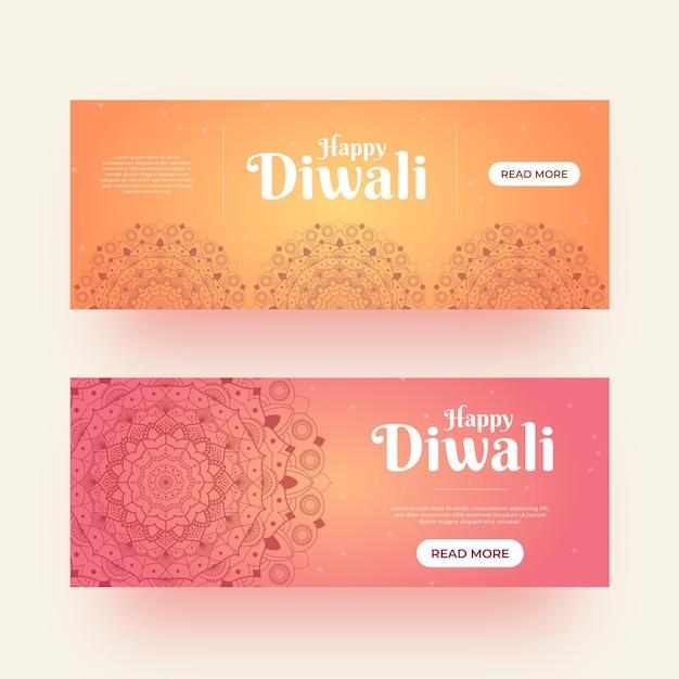 Estilo de plantilla de banners de diwali vector gratuito