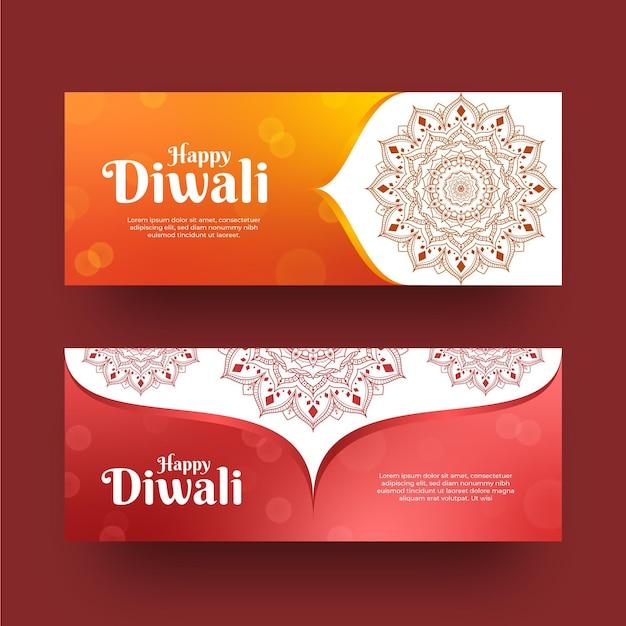 Estilo de plantilla de banners horizontales de diwali vector gratuito