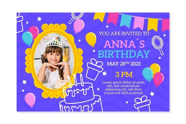 Estilo de plantilla de invitación de cumpleaños para niños vector gratuito