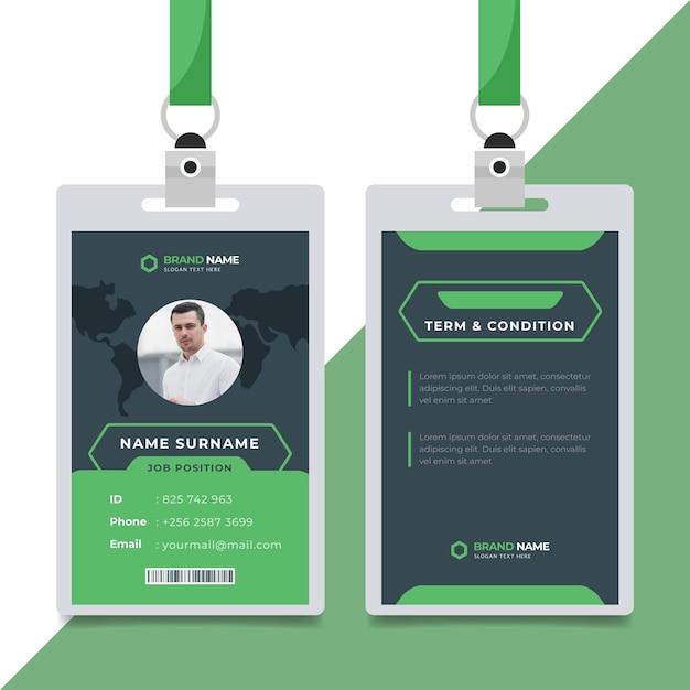 Estilo de plantilla de tarjetas de identificación con foto vector gratuito