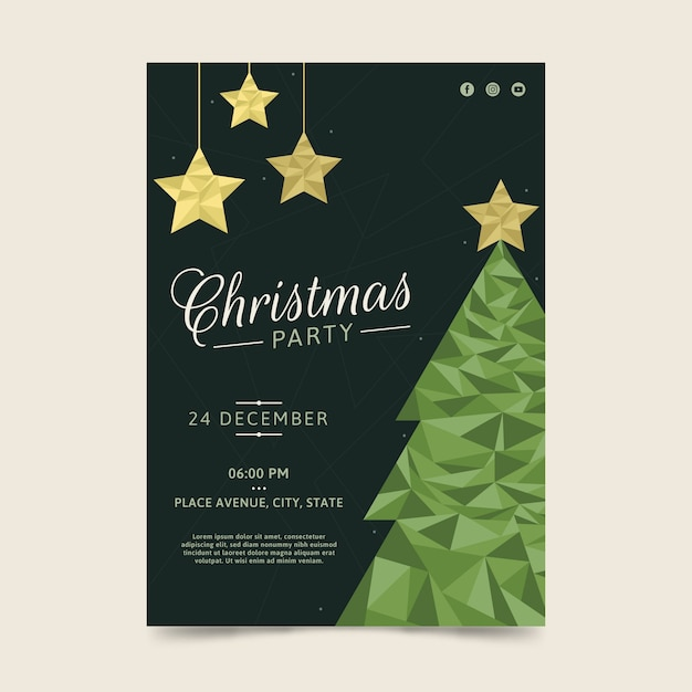 Estilo poligonal del cartel verde del árbol de navidad vector gratuito