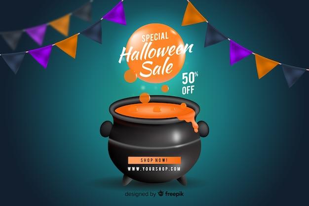 Estilo realista de fondo de ventas de halloween vector gratuito