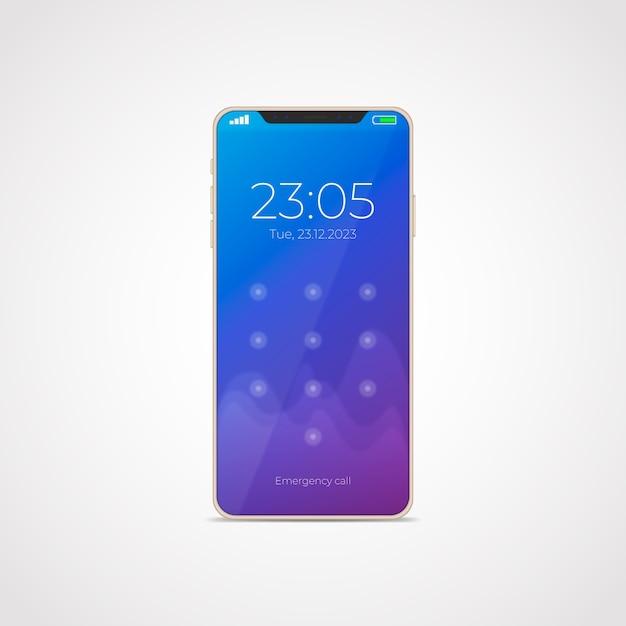 Estilo realista para smartphone modelo 11 con aplicaciones. vector gratuito