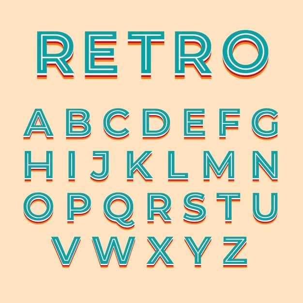 Estilo retro 3d para alfabeto Vector Premium