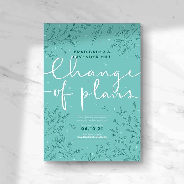 Estilo de tarjeta de boda pospuesta tipográfica Vector Premium